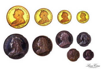 luna coins great bretain 1893 victoria proof set gold silver veiled head 237 obvs