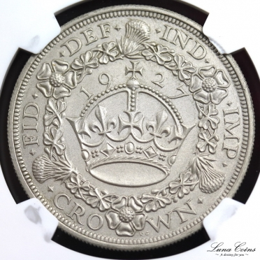 george V 1927 silver matt proof pattern sandblasted crown rev