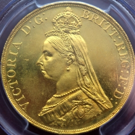 luna coins 1887 victoria jubilee head 5 pounds gold
