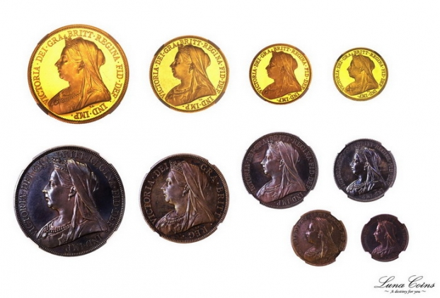 luna coins great bretain 1893 victoria proof set gold silver veiled head obvs