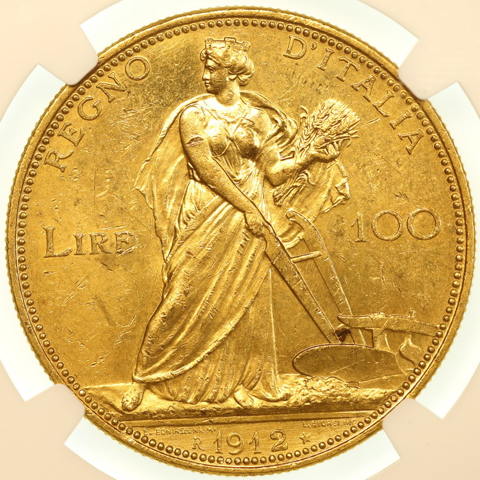 lunacoins italy 1912 100lire gold